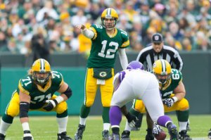 Using his powers of pointing, Aaron Rodgers will distract the Viking defense this Saturday.