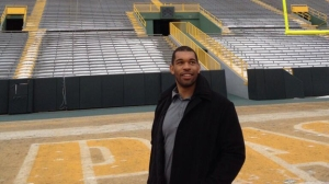 The newest member of the Packers takes in the sights at Lambeau Field.