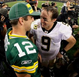 The Rodgers vs Brees match-up this week should produce loads of fantasy points.